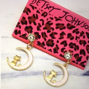 (June)NWT BETSEY JOHNSON CAT on the MOON EARRINGS!